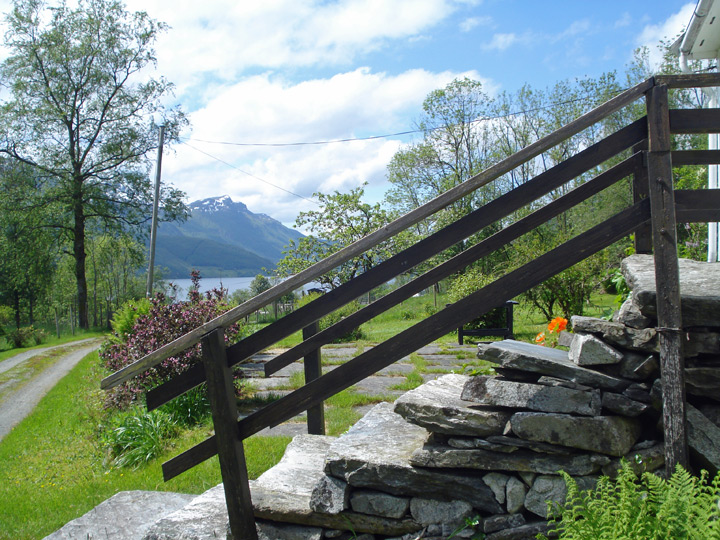 View from Tveito Farm with stone steps