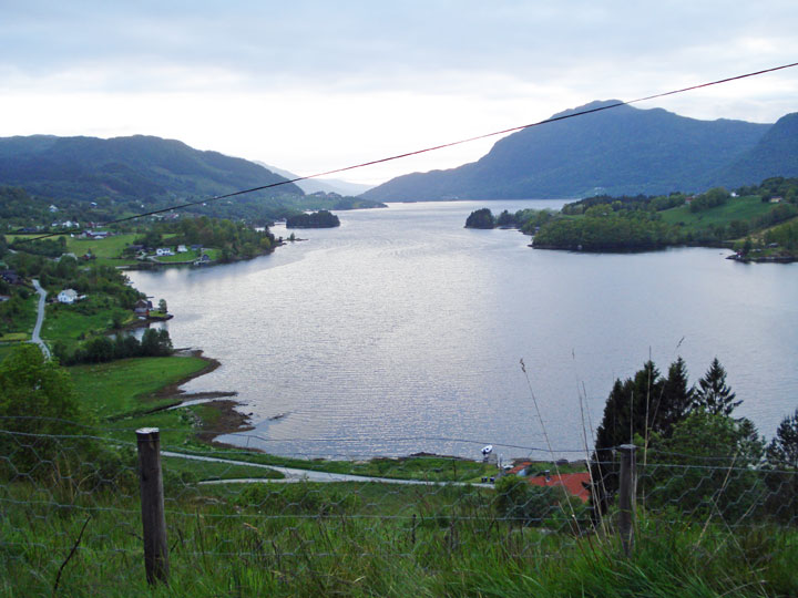 Etne Fjord, VE farm at distant left