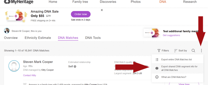 image showing Where to find the export of all your matches at MyHeritage